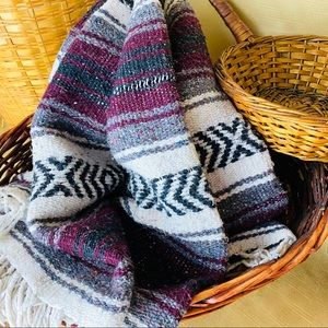 Authentic Mexican Blanket Burgundy Serape Throw